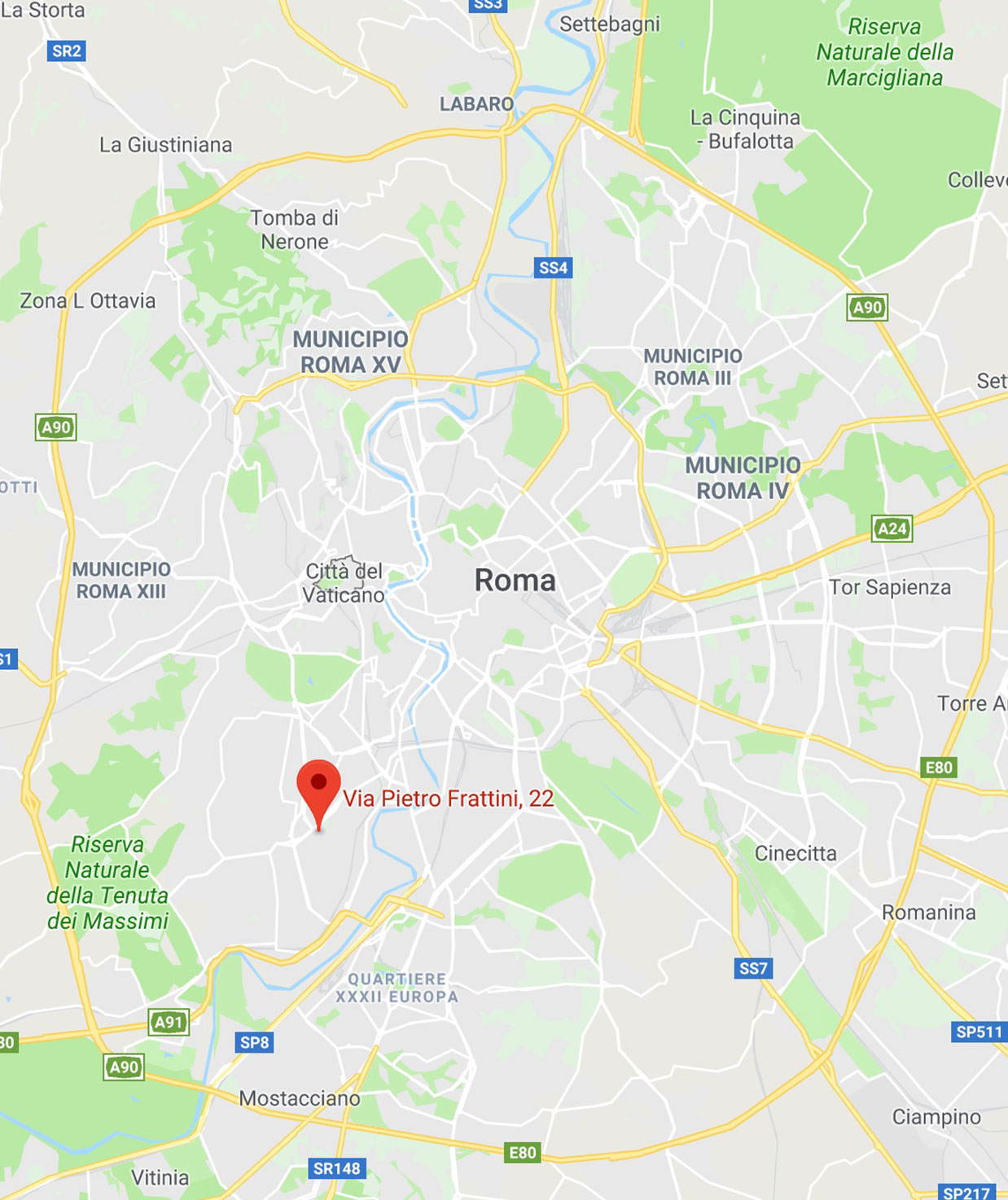 Mappa Salus Center srl - Via Pietro Frattini 22 Roma Portuense